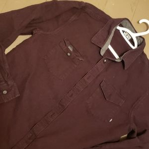 VANS Off the Wall Long Sleeve Button Down Shirt L